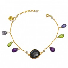 Round Pear Drops Labradorite Peridot Amethyst Gemstone 925 Sterling Silver Gold Plated Bracelet Jewelry