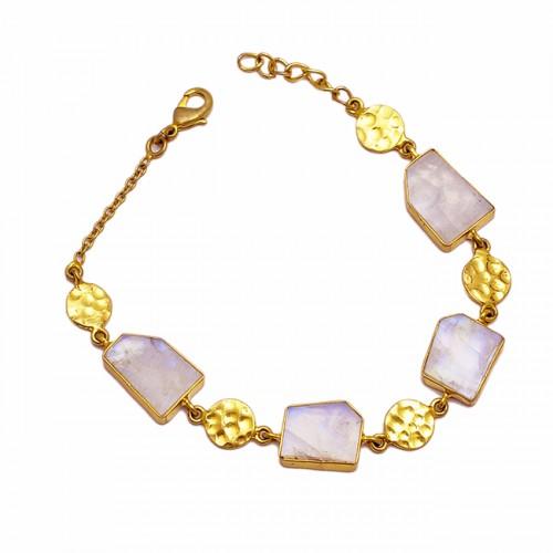 Hammered Designer Rainbow Fancy Shape Gemstone 925 Sterling Silver Gold Plated Bracelet Jewelry