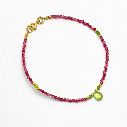 Oval Round Balls Peridot Ruby Gemstone 925 Sterling Silver Gold Plated Bracelet Jewelry