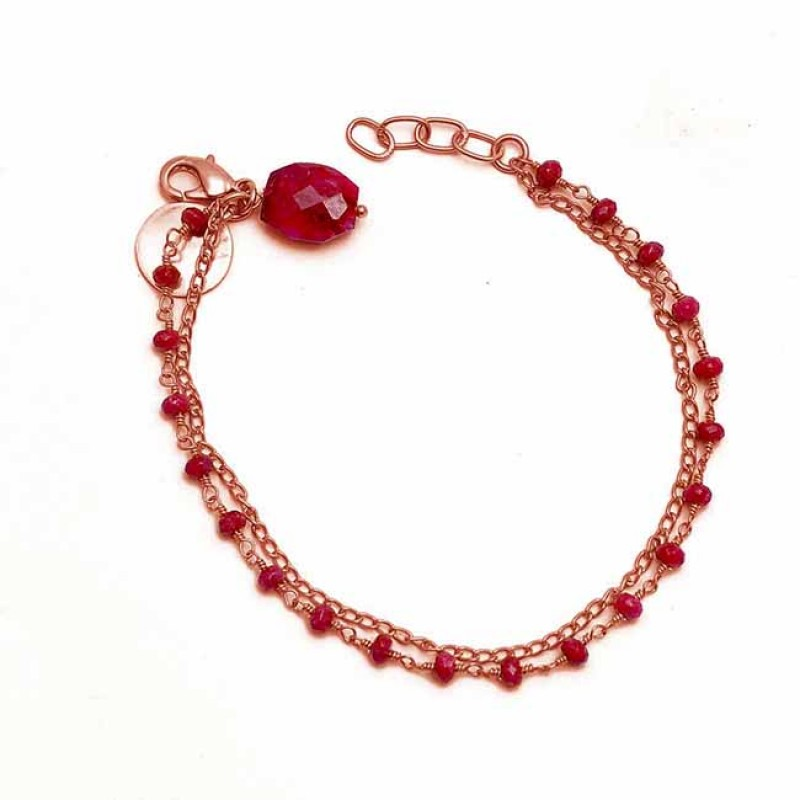 Oval Roundel Beads Ruby Gemstone 925 Sterling Silver Gold Plated Bracelet Jewelry