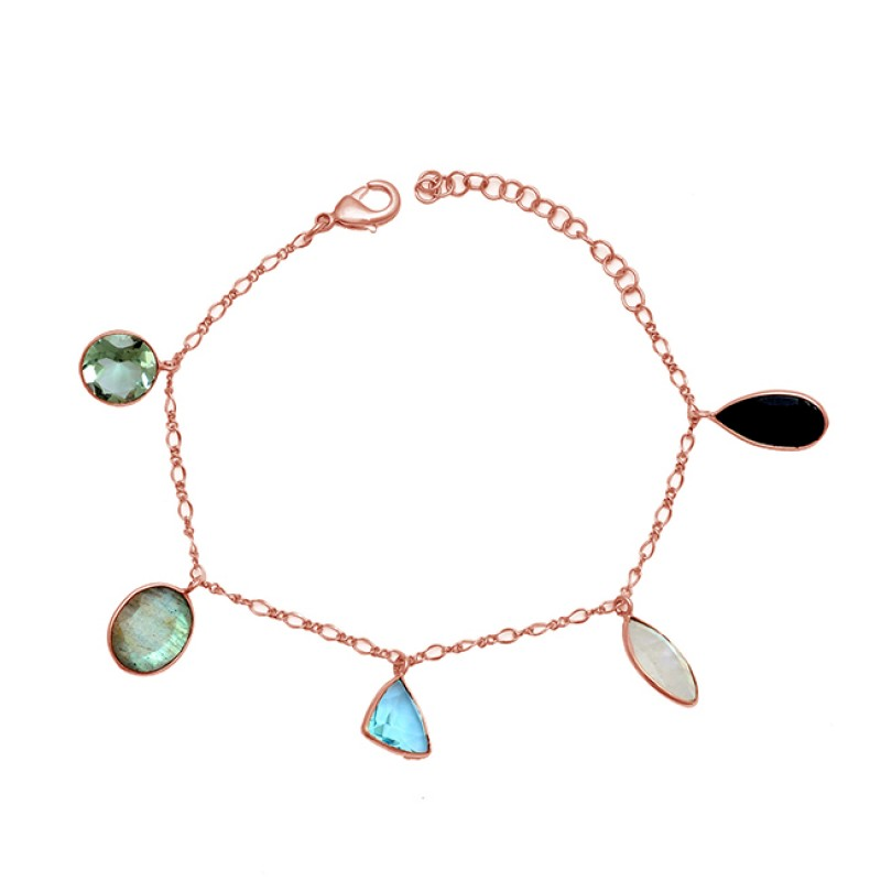 Multi Color Gemstone 925 Sterling Silver Gold Plated Designer Bracelet
