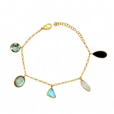 Multi Color Gemstone 925 Sterling Silver Gold Plated Designer Bracelet
