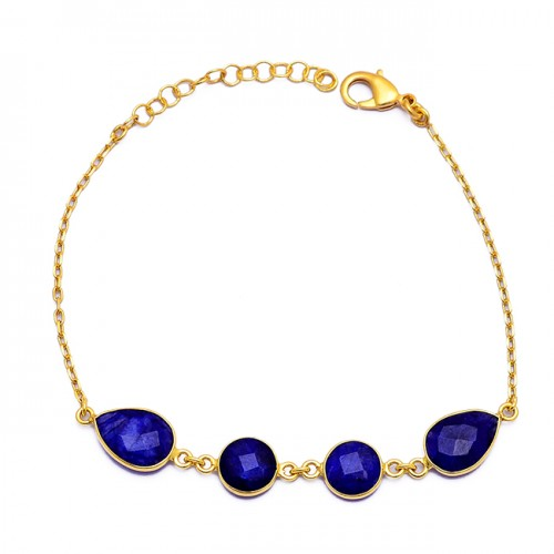 Pear Shape Sapphire Gemstone 925 Sterling Silver Gold Plated Bracelet