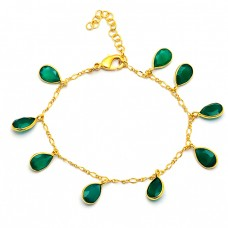 Pear Shape Green Onyx Gemstone 925 Sterling Silver Gold Plated Bracelet
