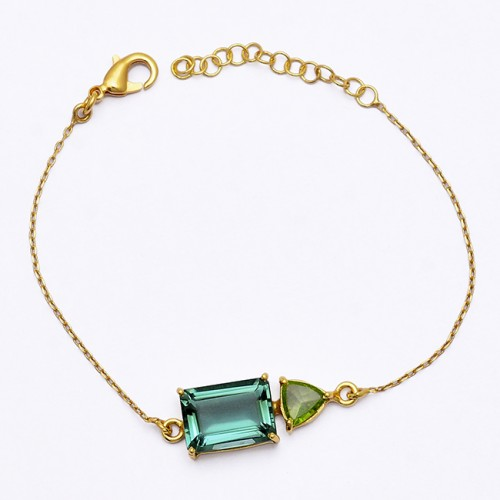Green Amethyst Peridot Gemstone 925 Sterling Silver Gold Plated Bracelet