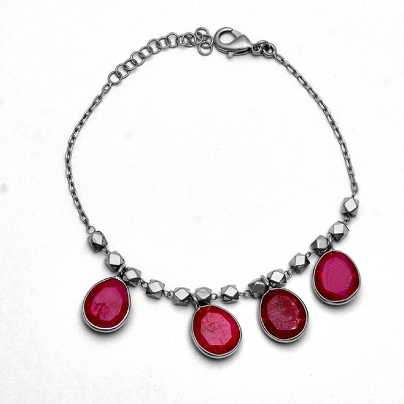 Oval Shape Ruby Gemstone 925 Sterling Silver Gold Plated Bracelet