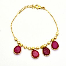 Oval Shape Ruby Gemstone 925 Sterling Silver Gold Plated Bracelet