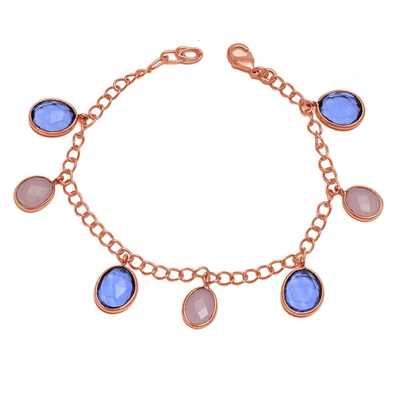 Purple Amethyst Fancy Shape Gemstone 925 Sterling Silver Gold Plated Bracelet Jewelry
