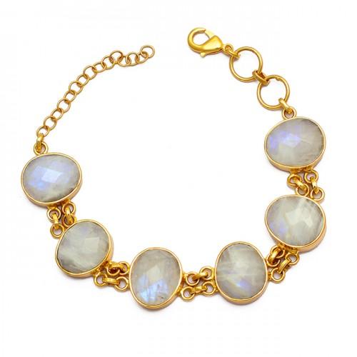 Oval Shape Moonstone 925 Sterling Silver Gold Plated Designer Bracelet