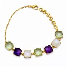 Amethyst Moonstone 925 Sterling Silver Gold Plated Handmade Bracelet