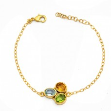 Peridot Citrine Topaz Gemstone 925 Sterling Silver Gold Plated Bracelet