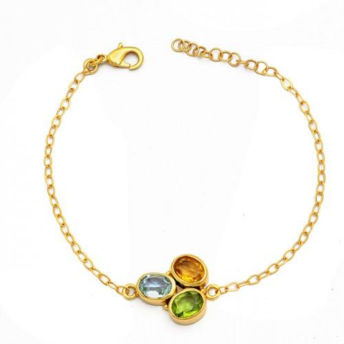 Peridot Citrine Topaz Gemstone 925 Sterling Silver Gold Plated Bracelet