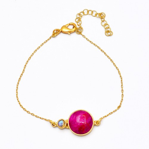 Ruby Moonstone 925 Sterling Silver Gold Plated Bracelet Jewelry