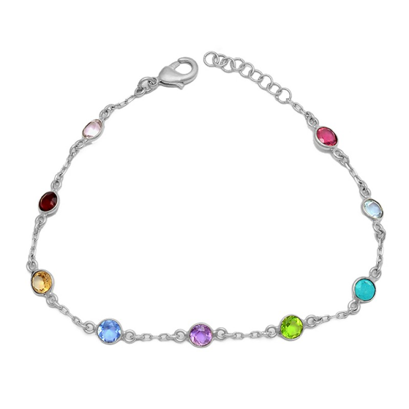 Round Shape Multi Color Gemstone 925 Sterling Silver Gold Plated Bracelet