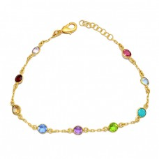 Round Shape Multi Color Gemstone 925 Sterling Silver Gold Plated Bracelet