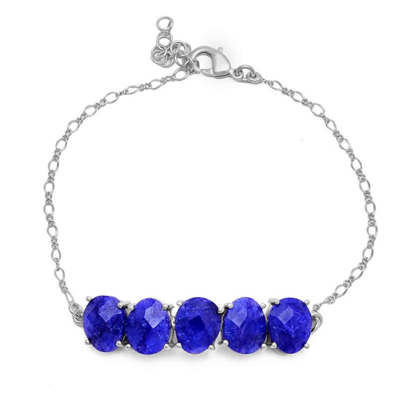 Oval Shape Sapphire Gemstone 925 Sterling Silver Gold Plated Bracelet