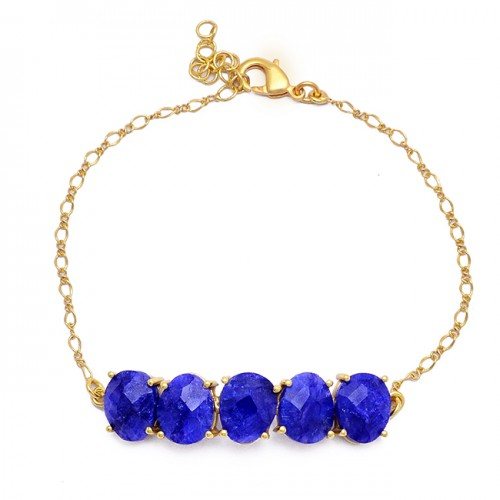 Oval Shape Sapphire Gemstone 925 Sterling Silver Gold Plated Bracelet