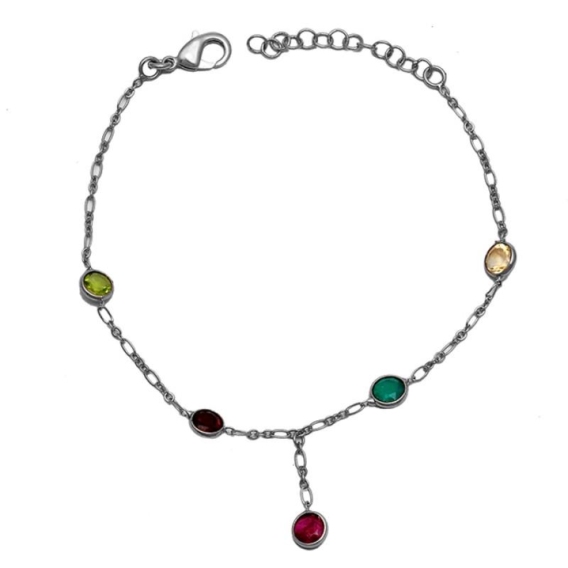 925 Sterling Silver Round Shape Multi Color Gemstone Gold Plated Bracelet
