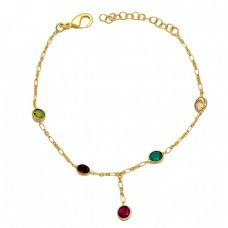 925 Sterling Silver Round Shape Multi Color Gemstone Gold Plated Bracelet