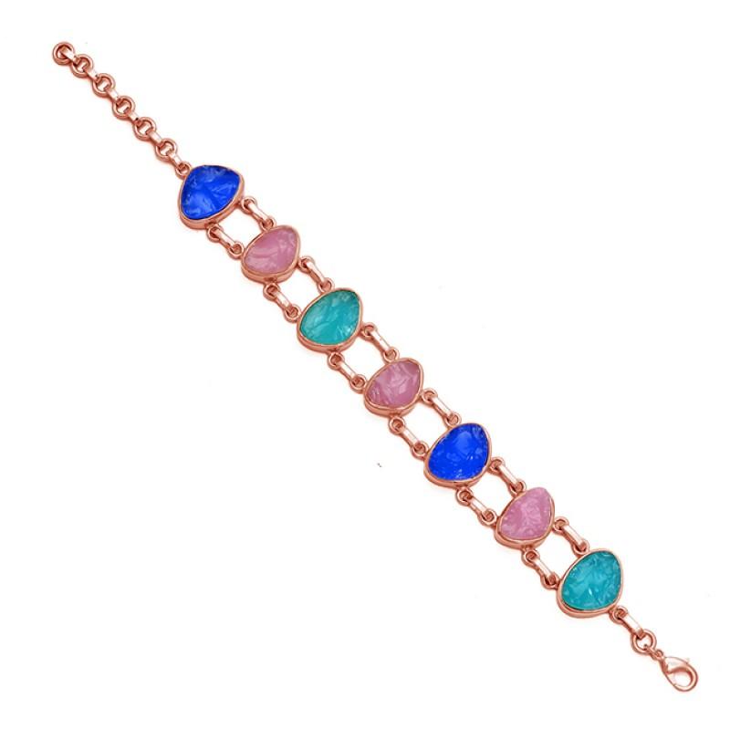 Multi Color Rough Gemstone 925 Sterling Silver Gold Plated Bracelet