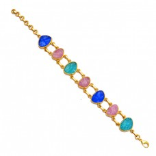 Multi Color Rough Gemstone 925 Sterling Silver Gold Plated Bracelet