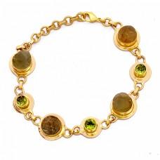 Labradorite Peridot Gemstone 925 Sterling Silver Gold Plated Bracelet