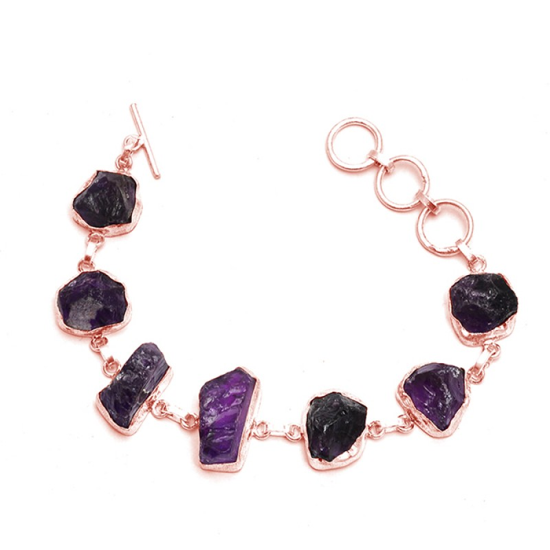 Raw Material Amethyst rough Gemstone Handcrafted 925 Sterling Silver Bracelet Jewelry
