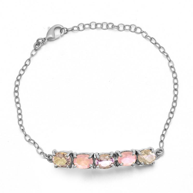 Amethyst Chalcedony Gemstone 925 Sterling Silver Gold Plated Bracelet