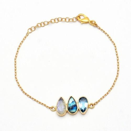 Labradorite Topaz Moonstone 925 Sterling Silver Gold Plated Bracelet
