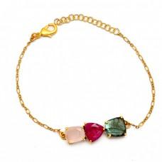 Ruby Labradorite Chalcedony Gemstone 925 Sterling Silver Bracelet