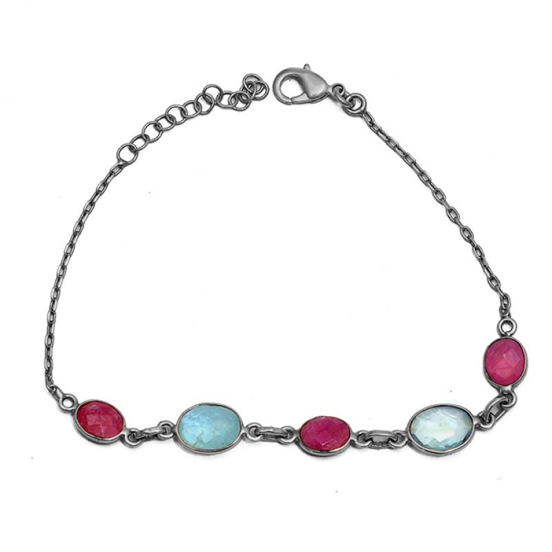 Oval Shape Ruby Aquamarine Gemstone 925 Sterling Silver Bracelet