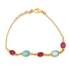 Oval Shape Ruby Aquamarine Gemstone 925 Sterling Silver Bracelet
