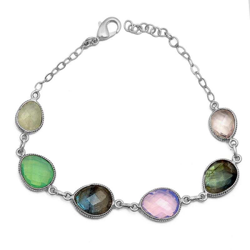 Handcrafted Designer Oval Shape Gemstone 925 Sterling Silver Bracelet