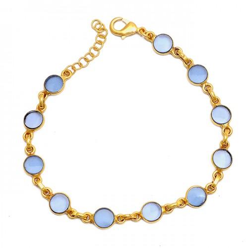 Round Shape Blue Chalcedony Gemstone 925 Sterling Silver Bracelet