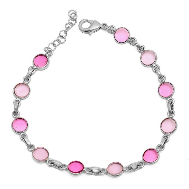 Round Shape Pink Quartz Gemstone 925 Sterling Silver Gold Plated Bracelet