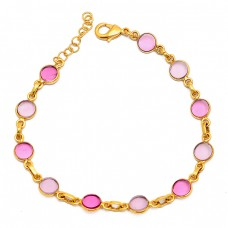 Round Shape Pink Quartz Gemstone 925 Sterling Silver Gold Plated Bracelet