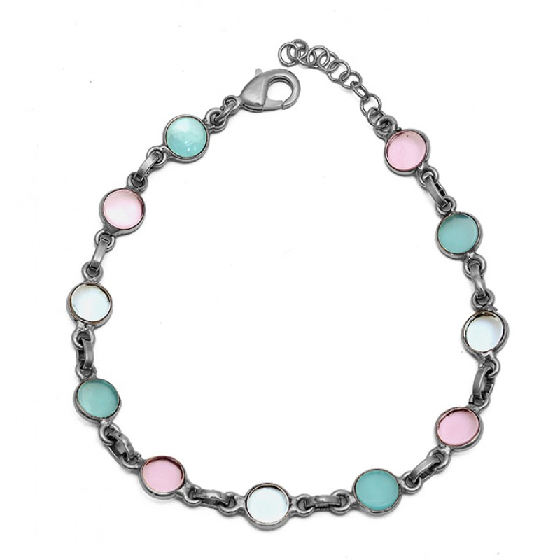 Aqua Rose Color Chalcedony Gemstone 925 Sterling Silver Gold Plated Bracelet