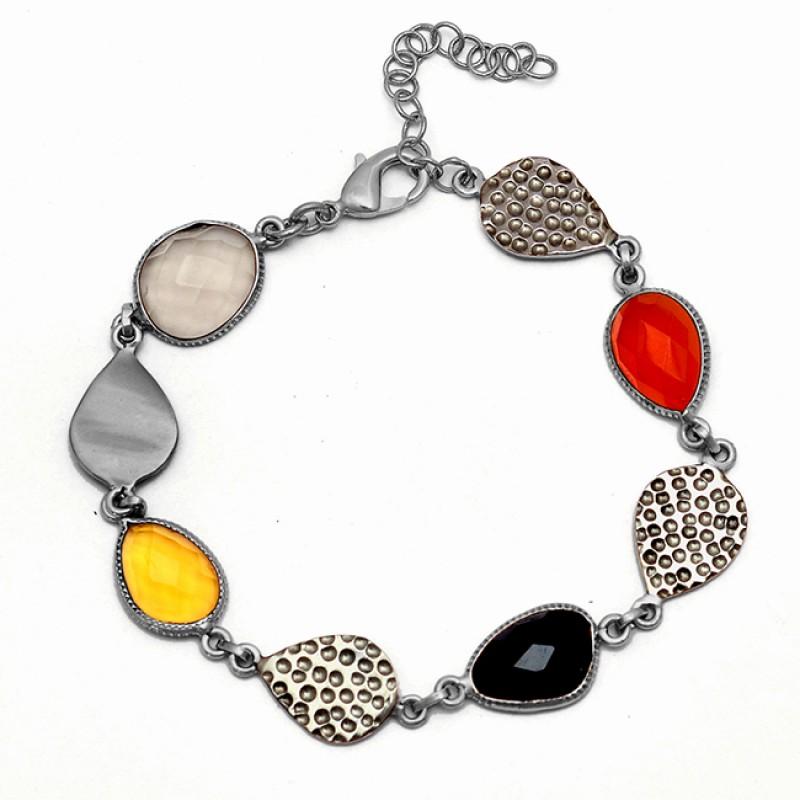 Smoky Citrine Onyx Quartz Gemstone 925 Sterling Silver Gold Plated Bracelet