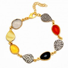 Smoky Citrine Onyx Quartz Gemstone 925 Sterling Silver Gold Plated Bracelet