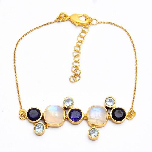 Sapphire Topaz Moonstone 925 Sterling Silver Gold Plated Bracelet