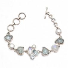 Aquamarine Rainbow Moonstone Blue Topaz Pearl Gemstone 925 Sterling Silver Bracelet Jewelry
