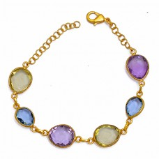 Amethyst Topaz Lemon Quartz 925 Sterling Silver Gold Plated Bracelet