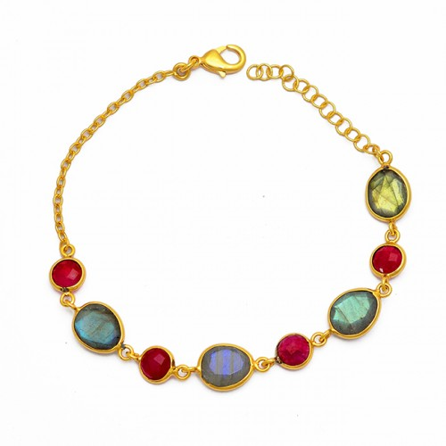 Ruby Labradorite Gemstone 925 Sterling Silver Gold Plated Bracelet