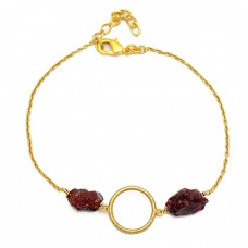 Garnet Rough Gemstone 925 Sterling Silver Gold Plated Designer Bracelet