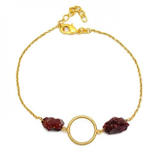 Garnet Rough Gemstone 925 Sterling Silver Gold Plated Designer Bracelet