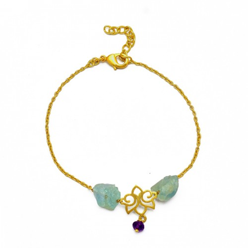 Raw Material Gemstone 925 Sterling Silver Gold Plated Bracelet Jewelry