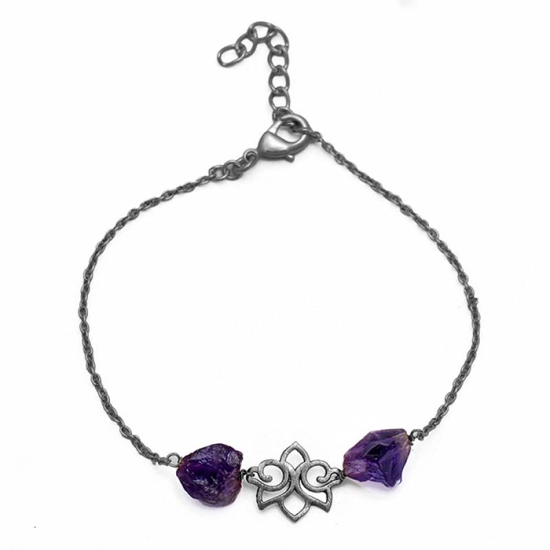 Amethyst Rough Gemstone 925 Sterling Silver Gold Plated Bracelet