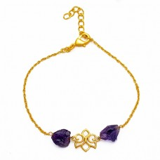 Amethyst Rough Gemstone 925 Sterling Silver Gold Plated Bracelet