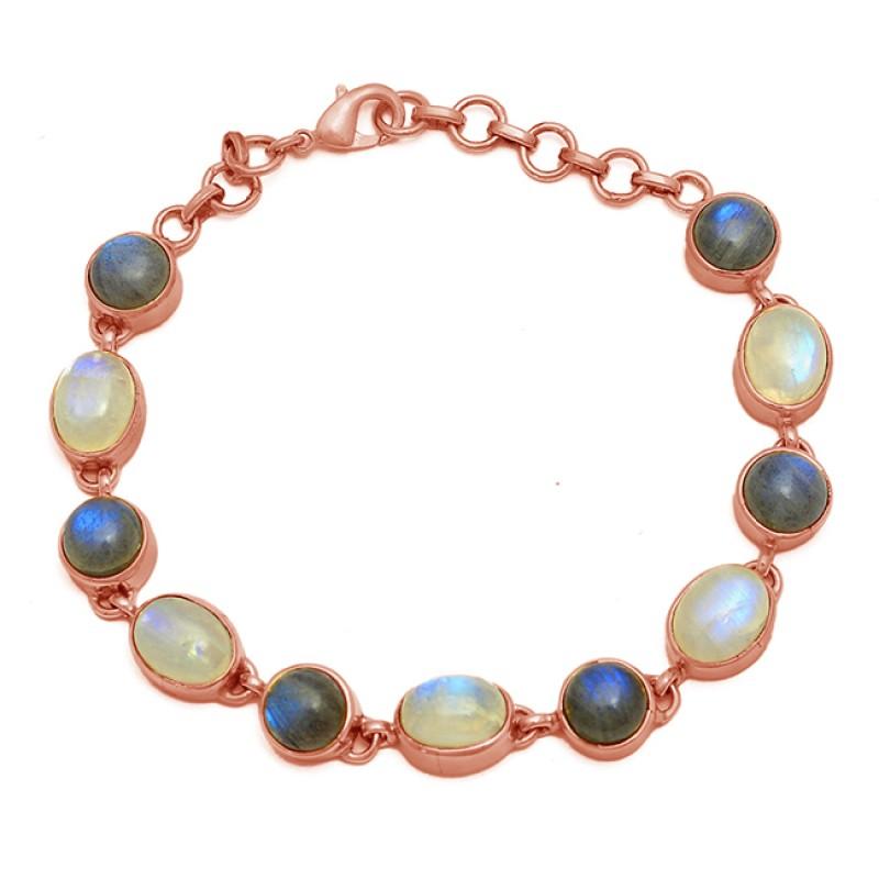 Labradorite Moonstone 925 Sterling Silver Gold Plated Bracelet Jewelry