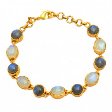 Labradorite Moonstone 925 Sterling Silver Gold Plated Bracelet Jewelry